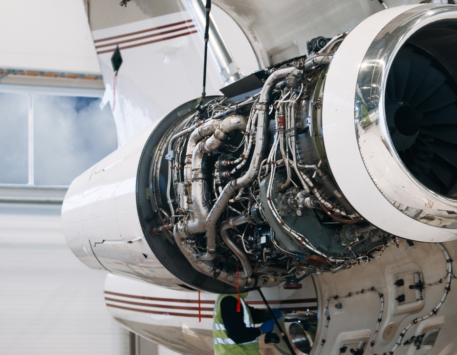 A look beneath the nacelle of a private jet engine