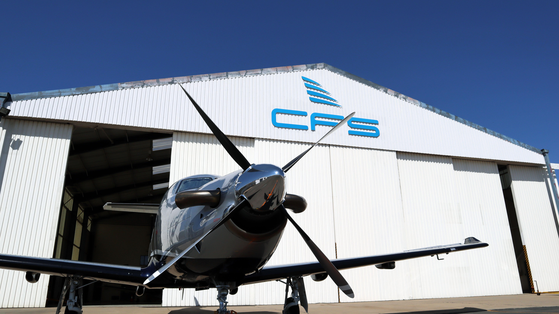 Plane outside Comair Hangar