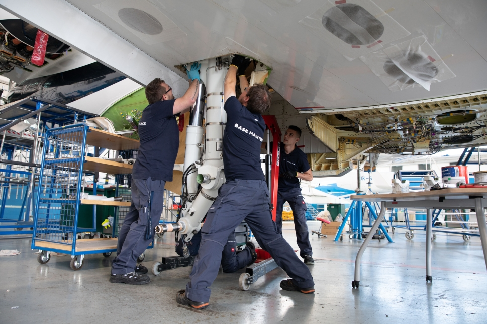 ABS Jets maintenance team working on a private jet