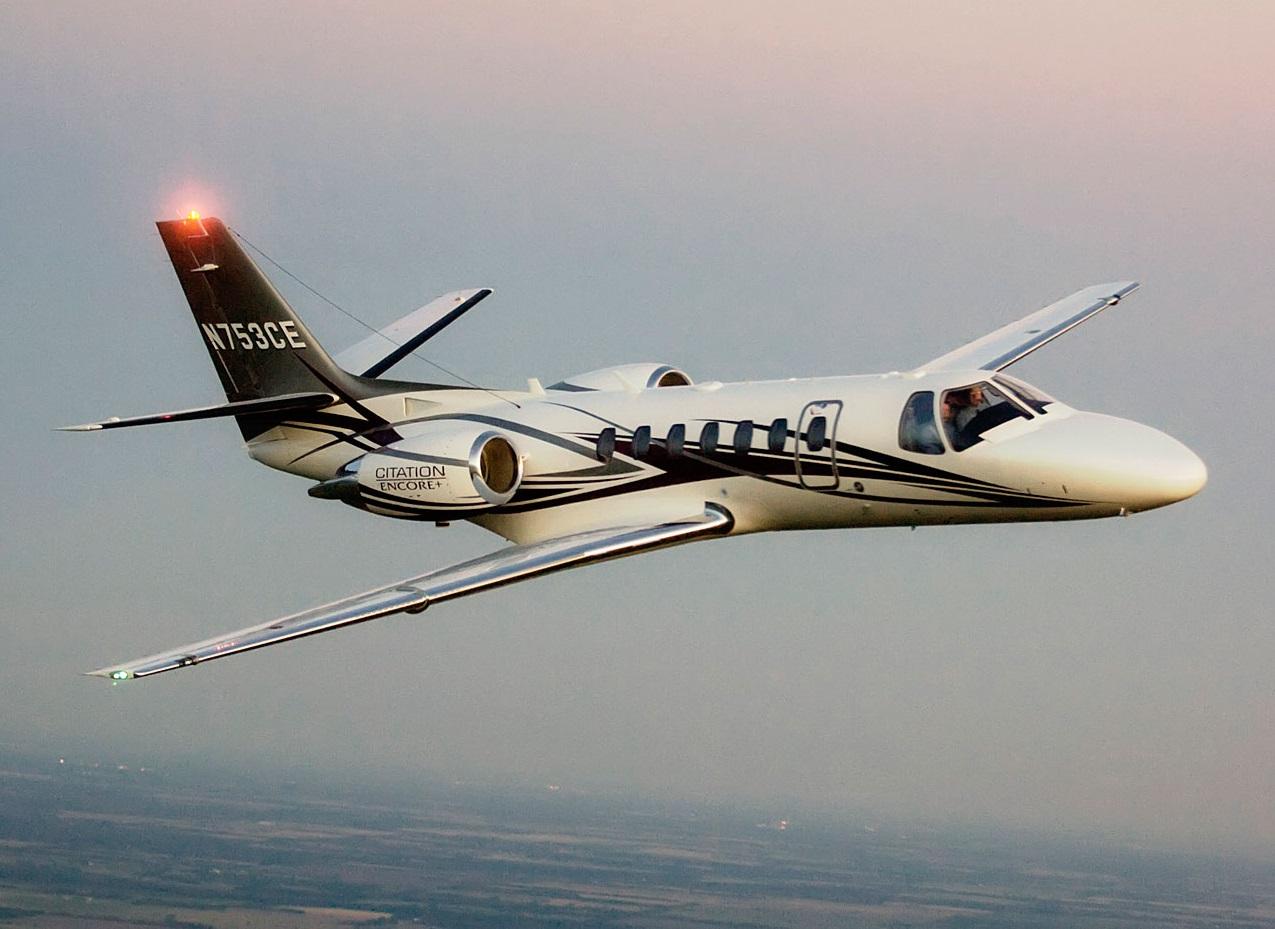 Cessna Citation Encore+ light jet in flight