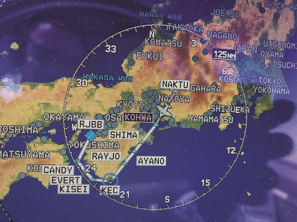 Ferry flight plan over Japan