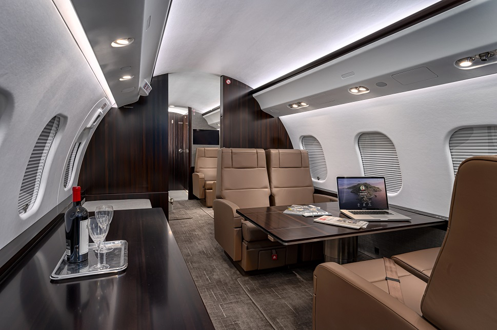 A large jet cabin refurbishment carried out by Duncan Aviation