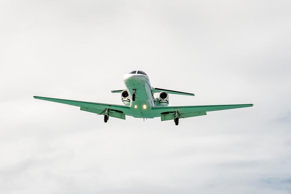 A Cessna Citation private jet on final approach