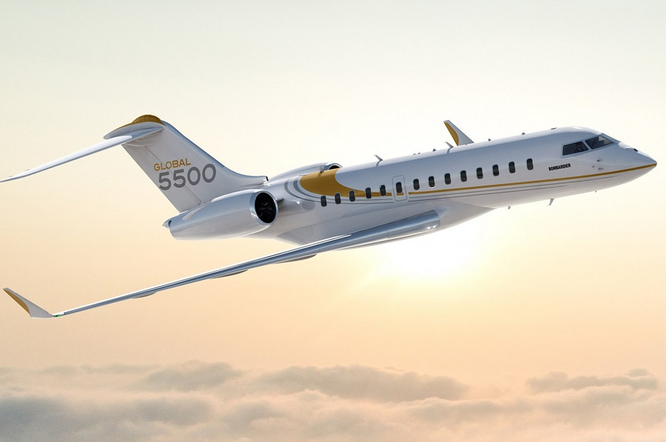 Bombardier Global 5500 large jet climbs above clouds