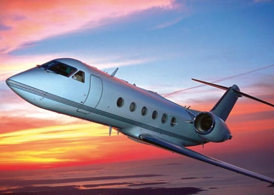 Gulfstream GIV-SP Jet at sunset