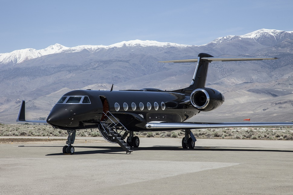 Gulfstream private jet parked at a remote US airport