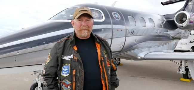 Mark Holt with his Embraer Phenom 100 jet