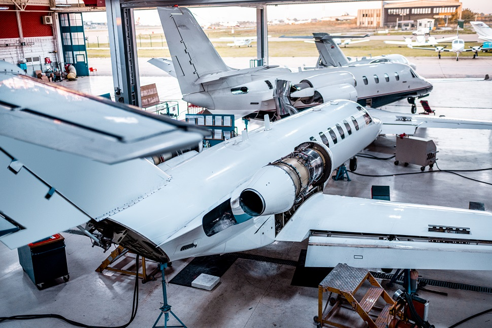 Overhead view of a private jet MRO hangar