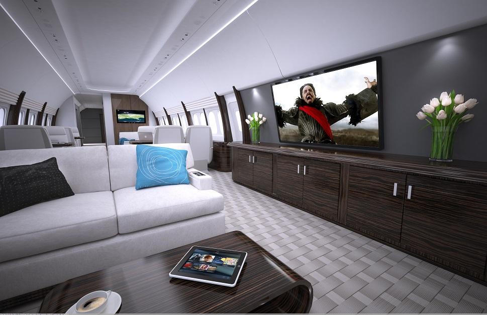 Cabin entertainment installed aboard a VVIP businessliner