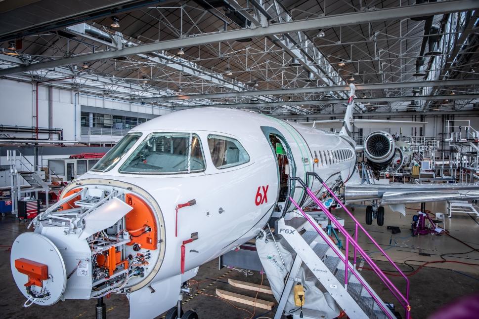 The Falcon 6X under construction as flight testing draws close