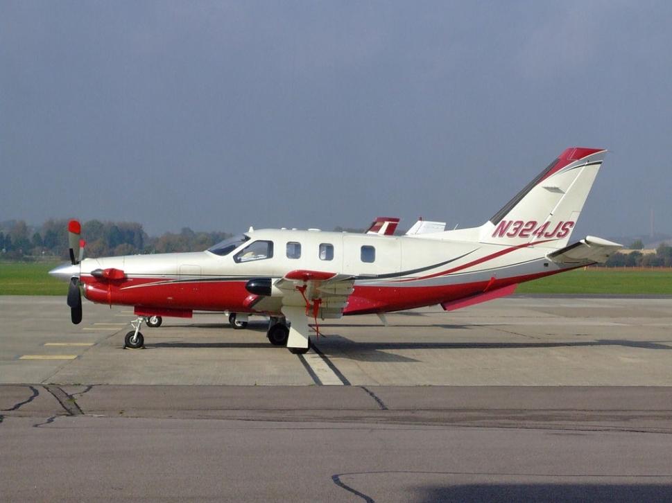 Socata TBM 700A turboprop on airport ramp