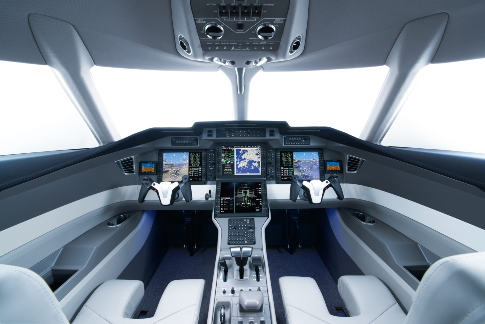 Honeywell Primus Epic cockpit installed on a Pilatus PC-24 private jet