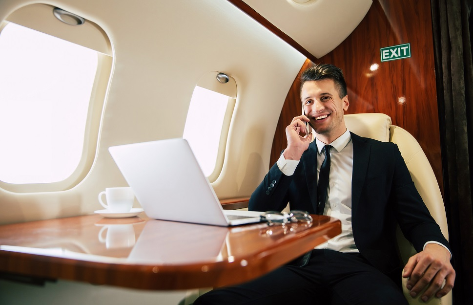 A productive, healthy business executive on a private jet