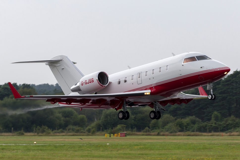 A Bombardier Challenger 650 private jet takes off at Farnborough airport