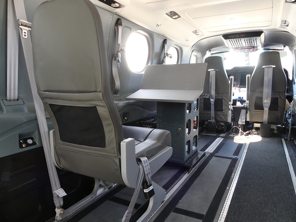 The interior of a turboprop configured for surveillance ops