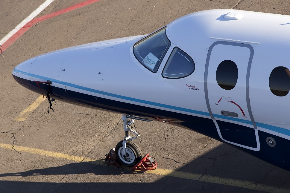 The front section of a Beechcraft Premier I light jet