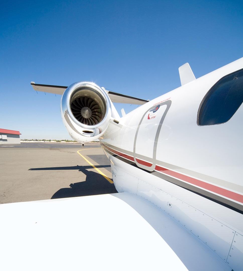 View along the side of a Cessna Citation light business jet