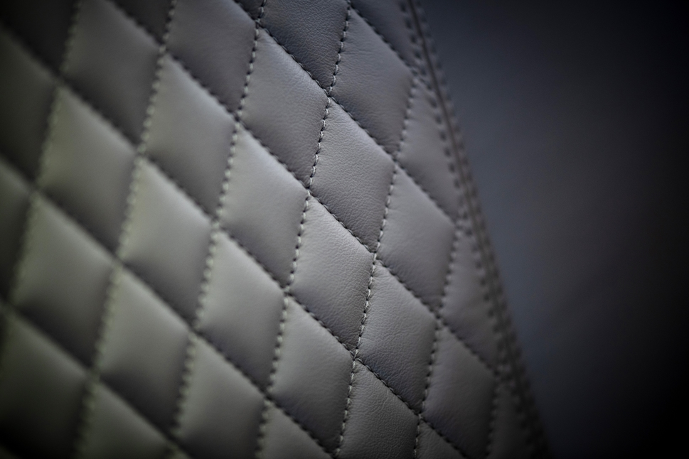 Embraer Legacy 500 refurbished leather seat diamond stitching