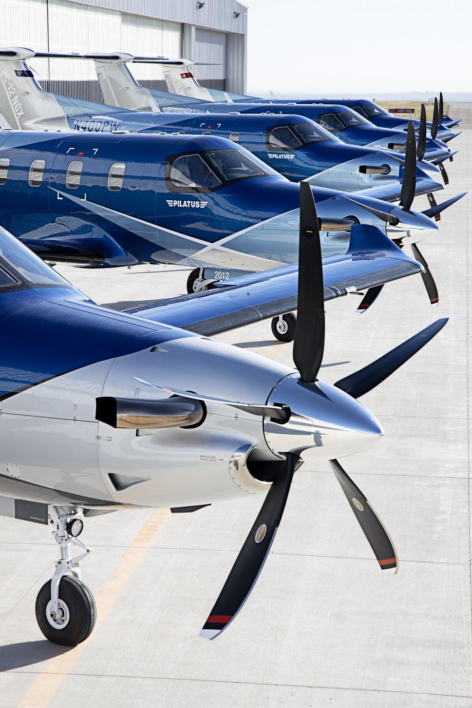 A line of Pratt & Whitney Canada PT6 E-series-powered Pilatus PC-12 NGX aircraft