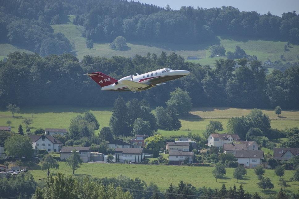 A Cessna Citation CJ1+ flying in Switzerland