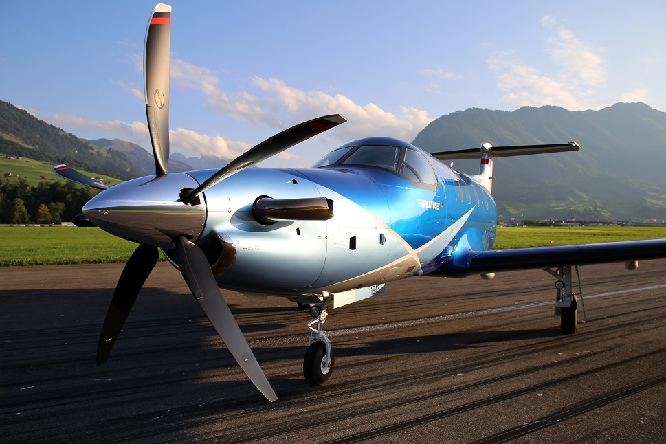 A Pilatus PC-12 NGX on the runway at Stans Airport, Switzerland
