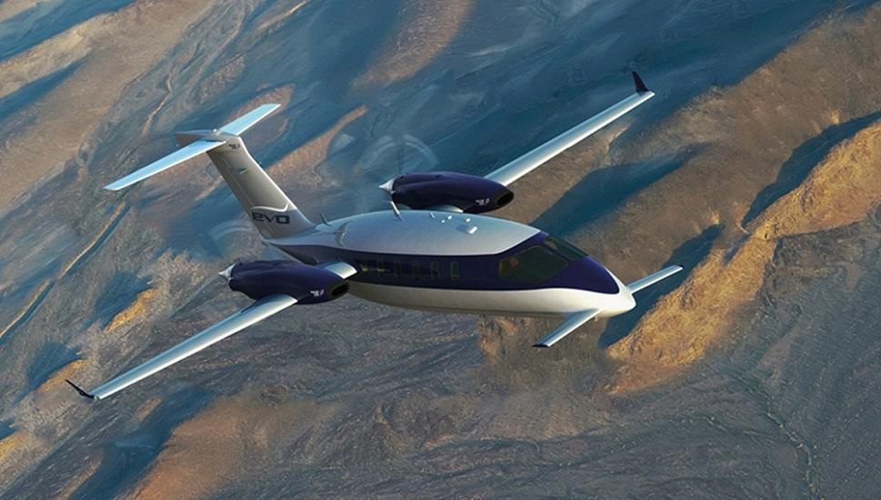 Piaggio Avanti EVO in flight over hilly terrain