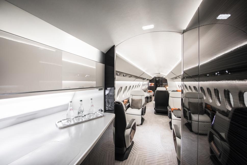 Dassault Falcon 6X brightly-lit galley area