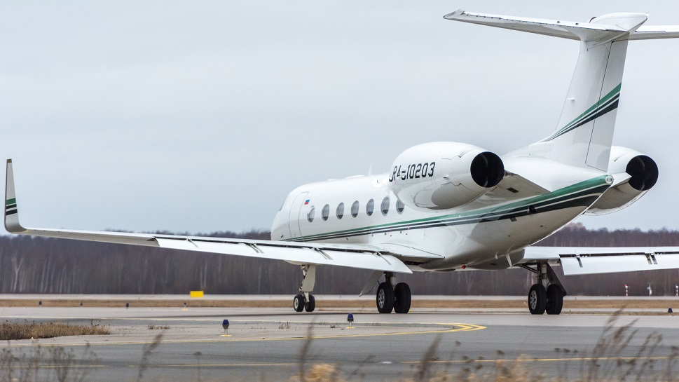 Gulfstream large jet on the airport taxiway