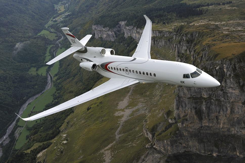Dassault Falcon 8X private jet in flight
