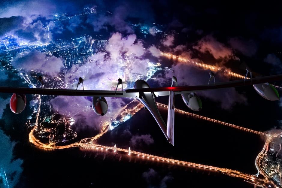 Antares E2 flies at Night