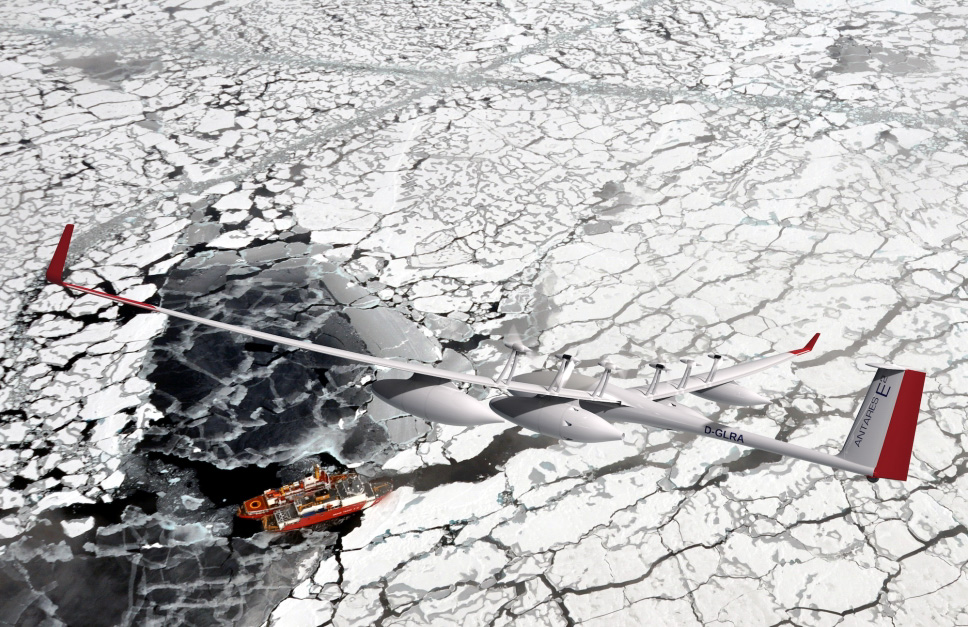 Antares E2 flies over Icebreaker Ship in Arctic Sea