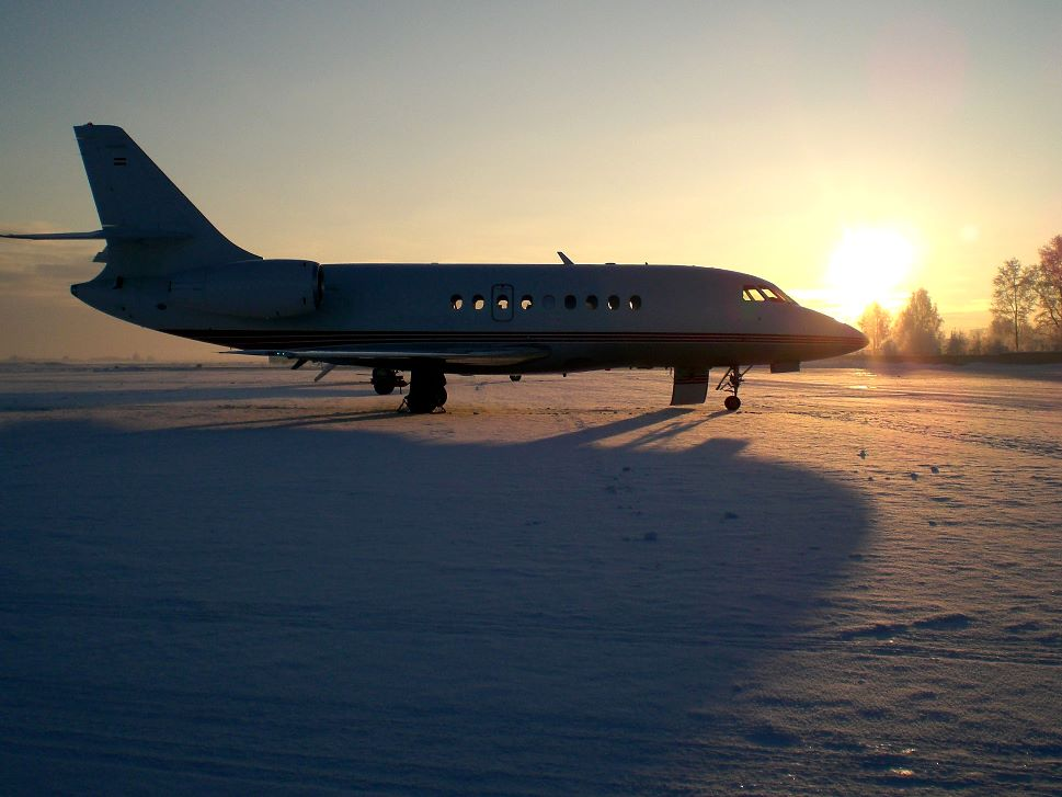 Private Jet in the Sunset