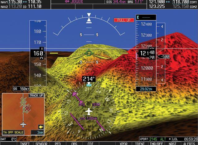 Garmin Synthetic Vision Depicting Terrain Information