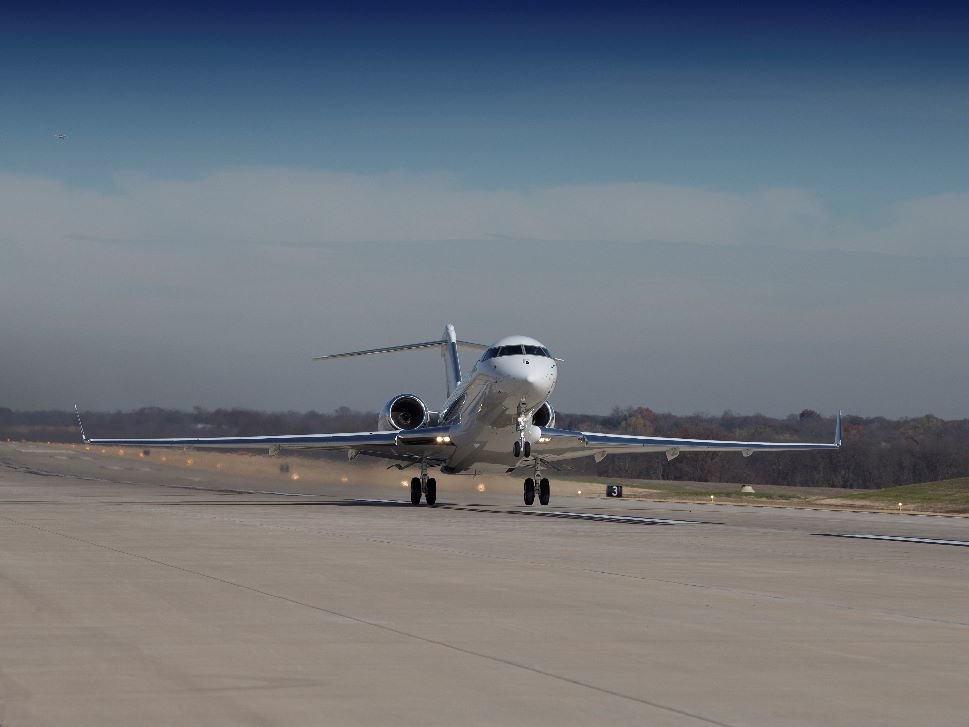 Bombardier Business Jet Lands at a Regional Airport