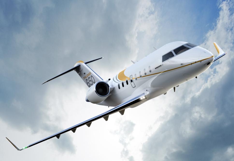 Bombardier Challenger 650 Jet in Flight
