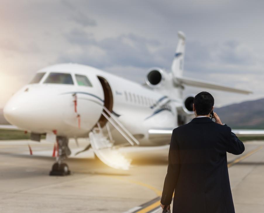Business Jet Passenger Approaches Dassault Falcon Jet