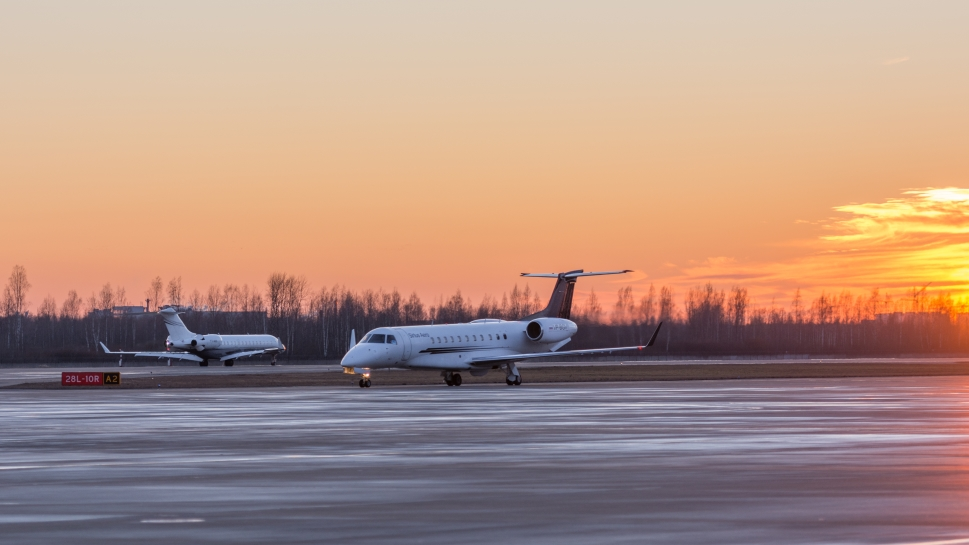 Business Jets Parked at Vnukovo Airport, Moscow