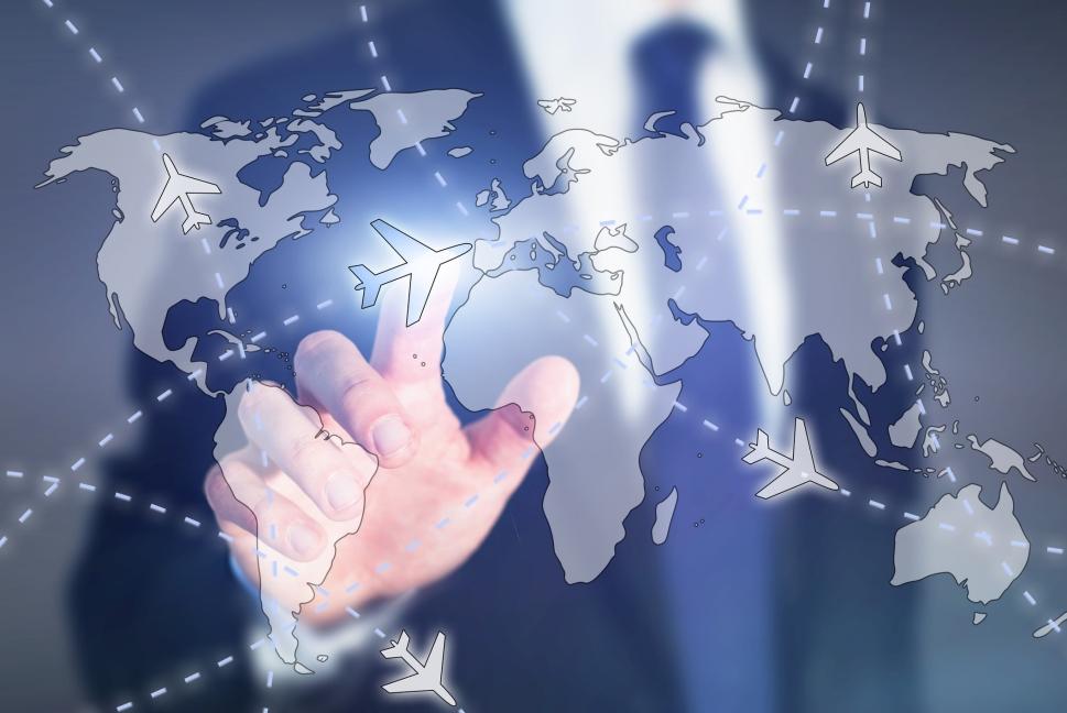Businessman Tracks Aircraft Flightpath