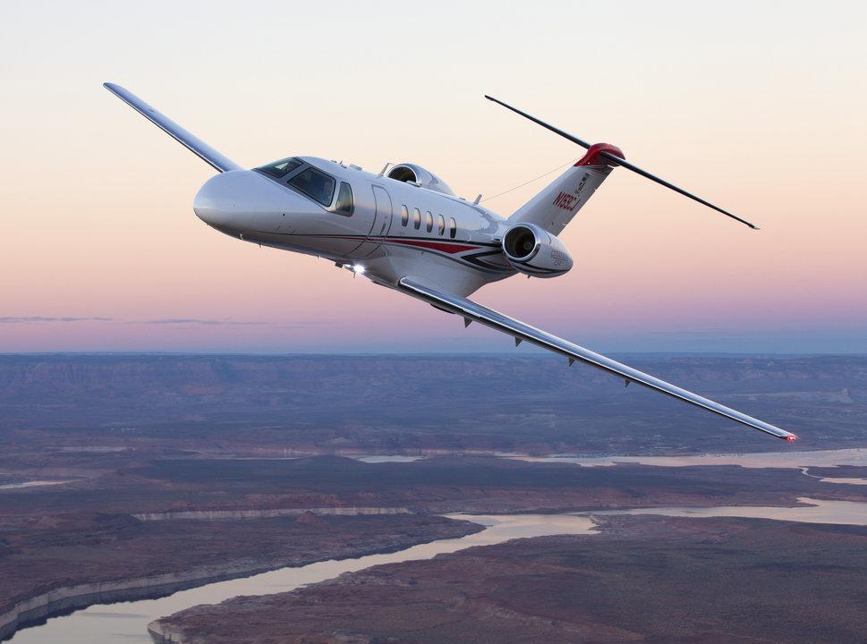 Cessna Citation CJ4 Private Jet in Flight