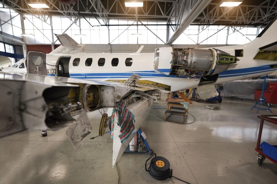 Cessna Citation Jet Undergoing Repairs in the Hangar