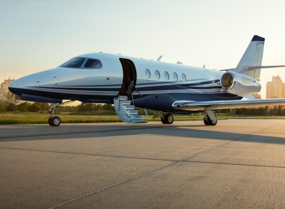 Cessna Citation Latitude Private Jet on Airport Ramp