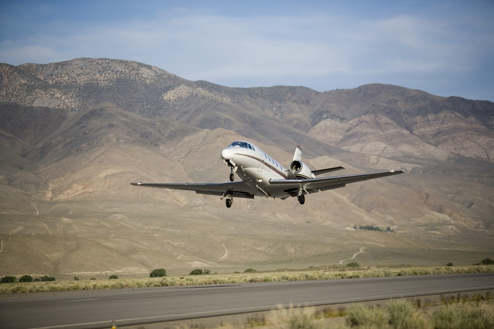 Cessna Citation Private Jet Lands on Airport Runway