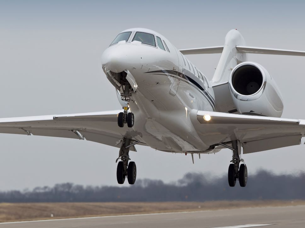 Cessna Citation X Private Jet comes in to land