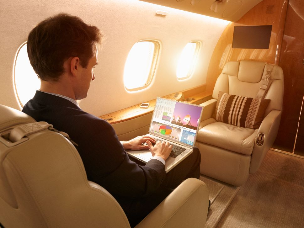 Private Jet Passenger with Cabin Connectivity