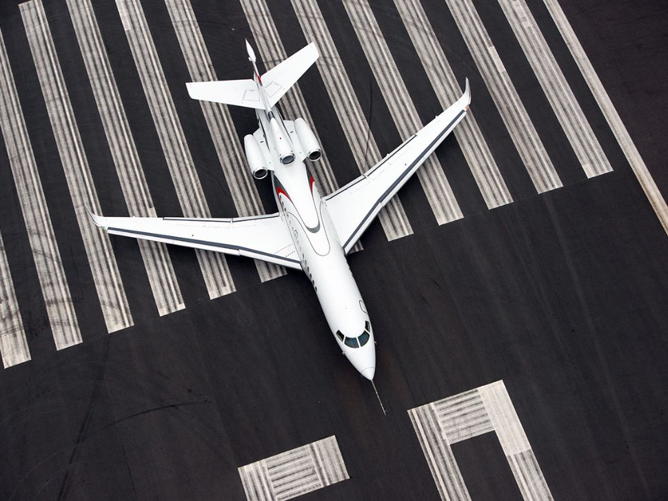 Dassault Falcon Private Jet on Runway