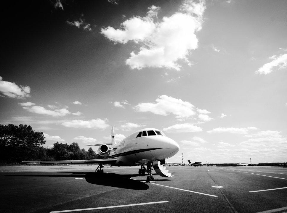 Dassault Falcon Jet black and white