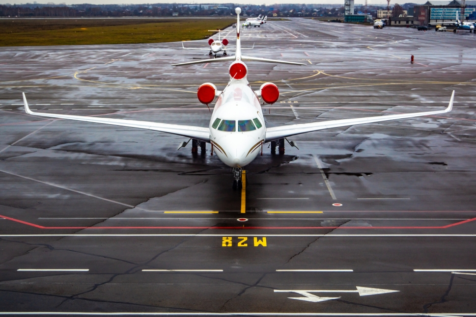 Dassault Falcon Jet on Airport Ramp