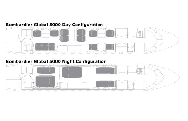 Bombardier Global 5000 jet Cabin Plan