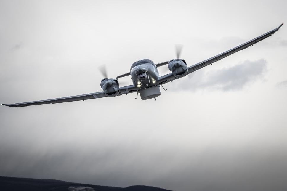 Diamond DA62-MSA Front View in Flight