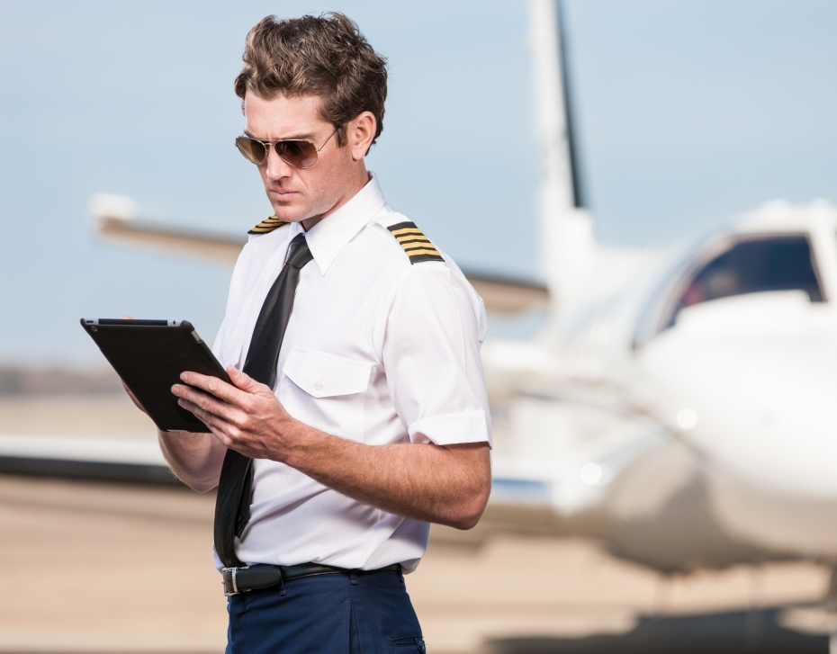 Electronic Flight Bag - Pilot with Airplane